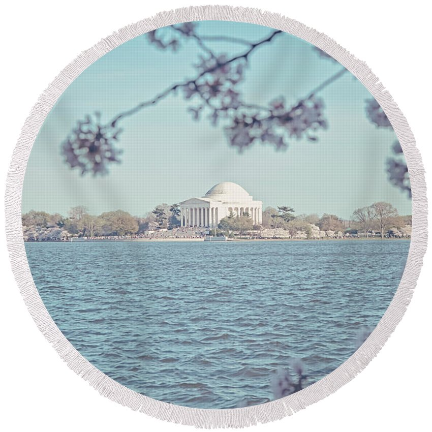 Cherry Blossoms Round Beach Towel featuring the photograph Washington Dc In Spring by Emily Kay
