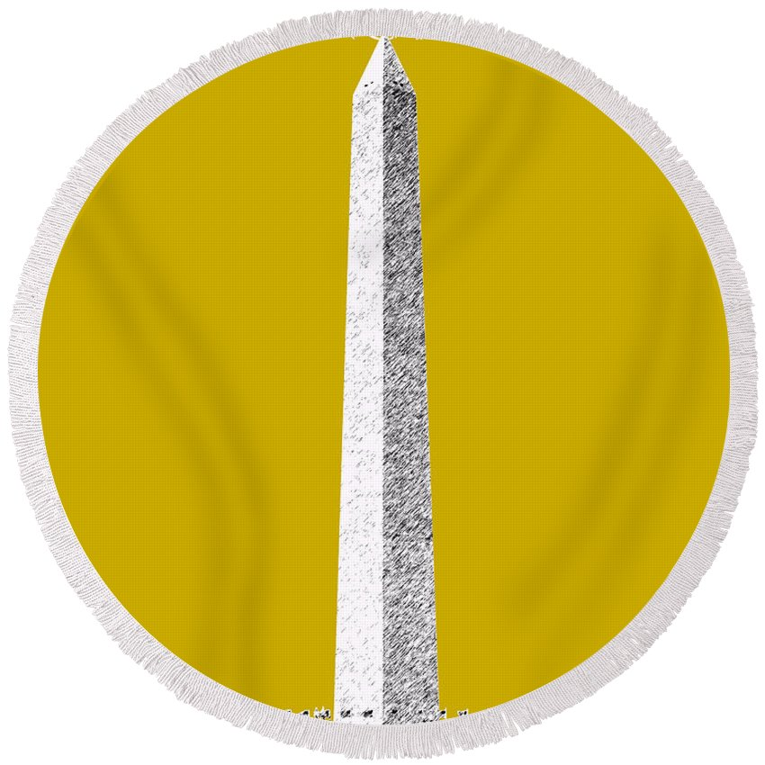 Architecture Round Beach Towel featuring the digital art Washington Dc Skyline Washington Monument - Gold by DB Artist