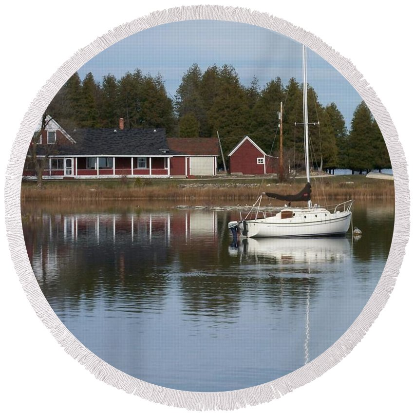 Washington Island Round Beach Towel featuring the photograph Washington Island Harbor 4 by Anita Burgermeister