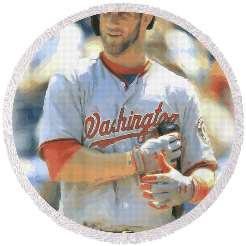 Bryce Harper Round Beach Towel featuring the photograph Washington Nationals Bryce Harper by Joe Hamilton