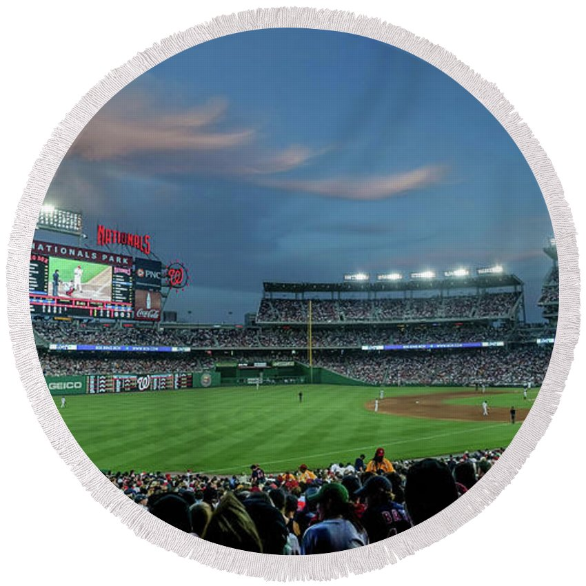 Red Sox Round Beach Towel featuring the photograph Washington Nationals In Our Nations Capitol by Thomas Marchessault
