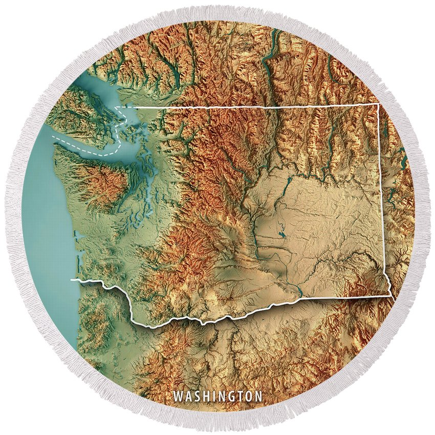 3d Topographic Map Of Usa.Washington State Usa 3d Render Topographic Map Border Round Beach Towel