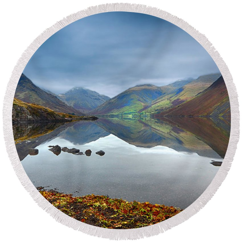 Wast Water Round Beach Towel featuring the photograph Wast Water by Smart Aviation