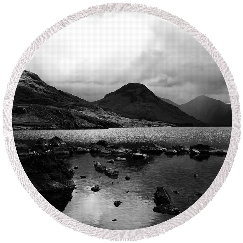 Wastwater Round Beach Towel featuring the photograph Wastwater by Smart Aviation