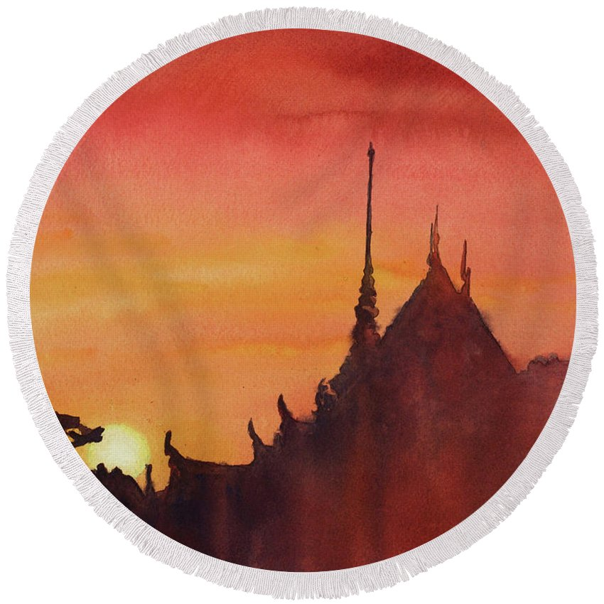 Architecture Round Beach Towel featuring the painting Wat Silhouette by Ryan Fox