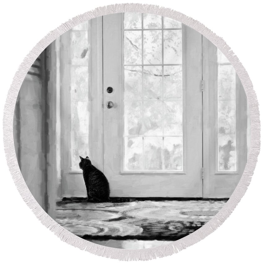Animals Round Beach Towel featuring the photograph Watch Cat by Sue Collura