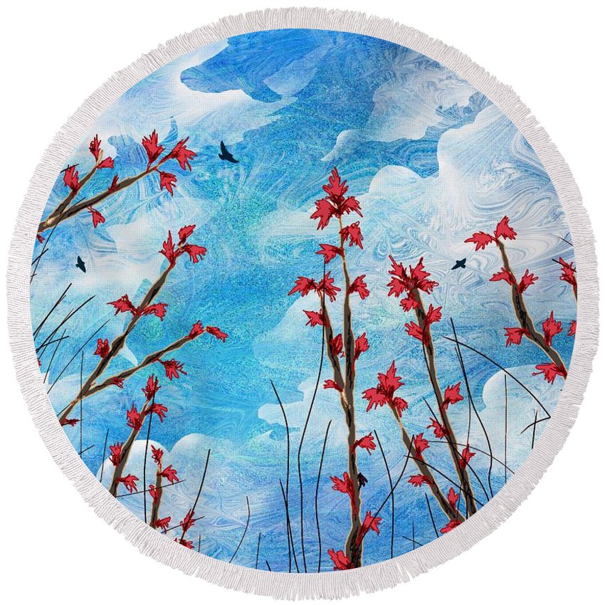 Abstract Round Beach Towel featuring the digital art Watching Clouds Go By by Rachel Christine Nowicki