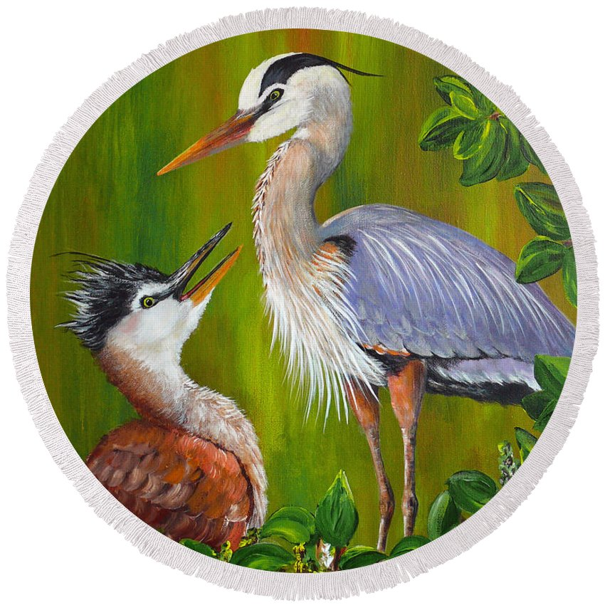 Great Blue Heron Round Beach Towel featuring the painting Watching Over Junior by Dee Carpenter