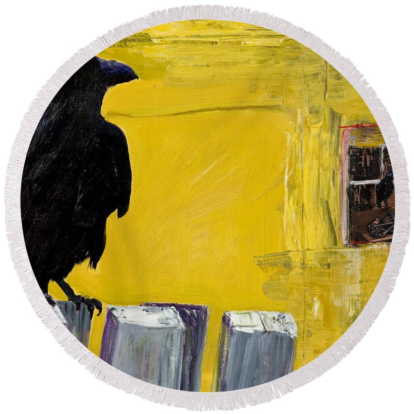 Pat Saunders-white Canvas Prints Round Beach Towel featuring the painting Watching by Pat Saunders-White