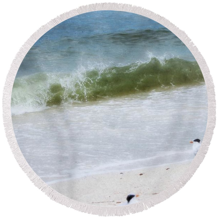 Coastal Photography Round Beach Towel featuring the painting Watching Waves Crest And Break by Barbara Chichester