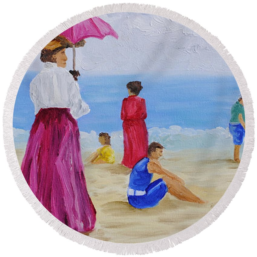 Beach Scene Round Beach Towel featuring the painting Watchman by Michael Lee