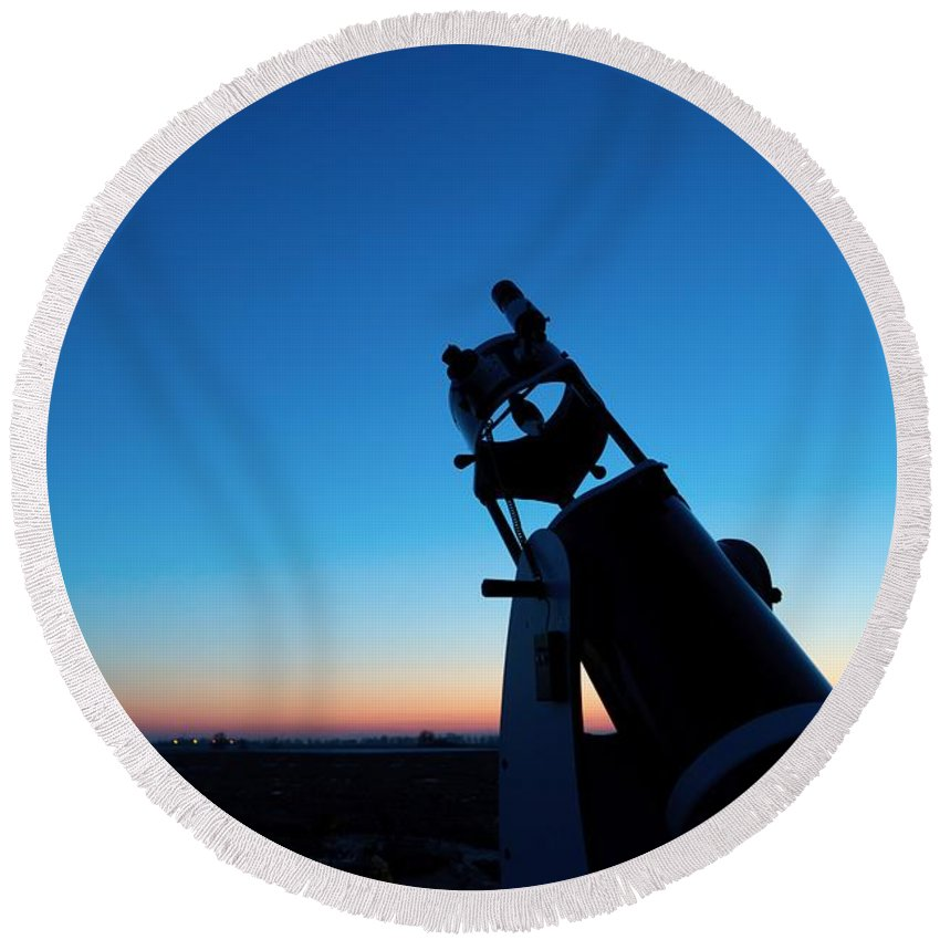 Contemplation Round Beach Towel featuring the photograph Watchnig The Sky, Astronomy Telescope Against Evening Sky And Moon by Lukasz Szczepanski