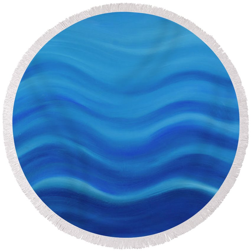 Water Round Beach Towel featuring the painting Water by Adamantini Feng shui