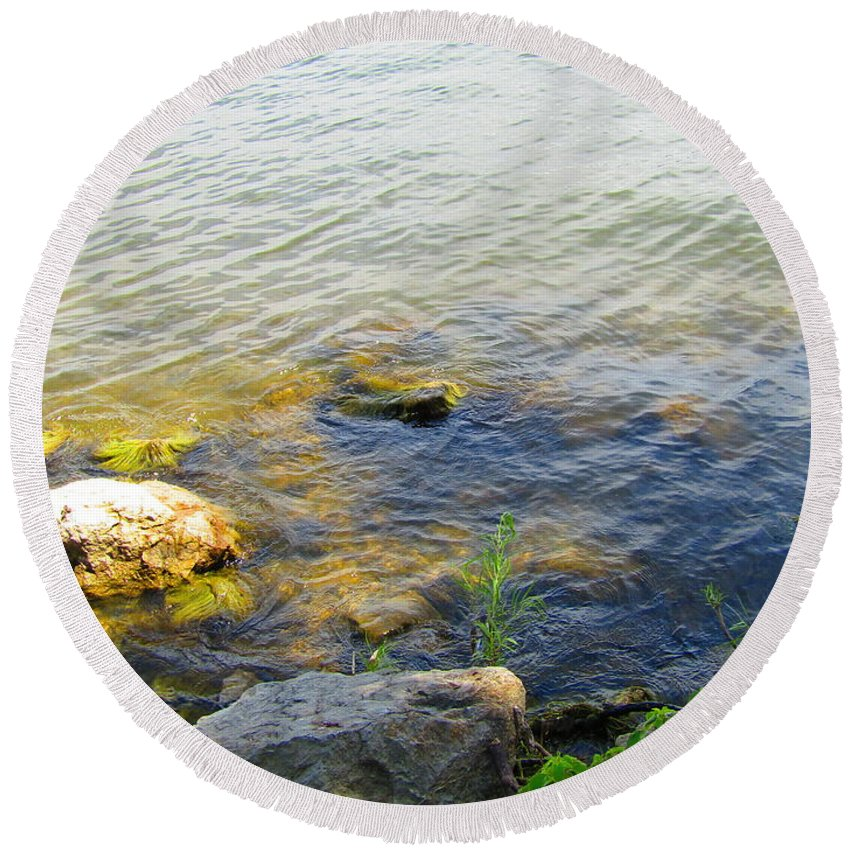 Photography Round Beach Towel featuring the photograph Water And Earth by Jenna Graham