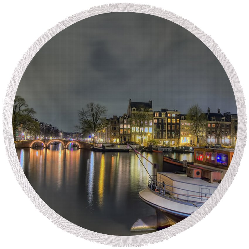 Amsterdam Round Beach Towel featuring the photograph Water Colors by Nadia Sanowar