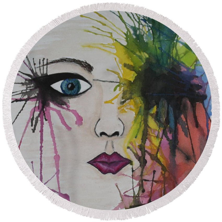 Water Colour Round Beach Towel featuring the painting Water Colour - Face by Perggals - Stacey Turner