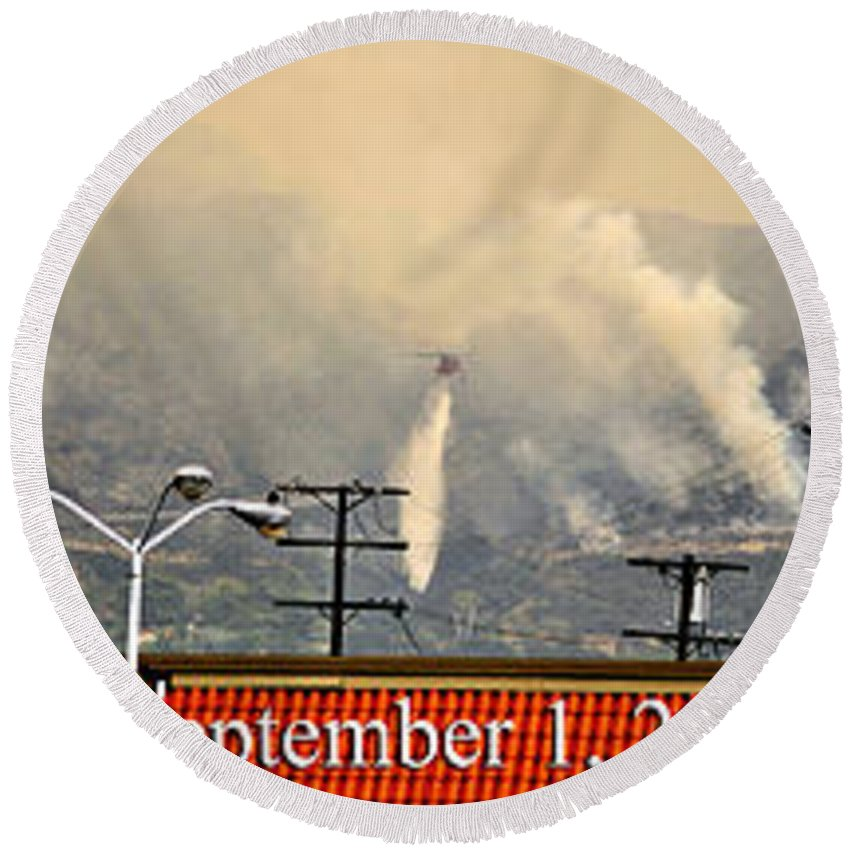 Clay Round Beach Towel featuring the photograph Water Drop On The Station Fire by Clayton Bruster
