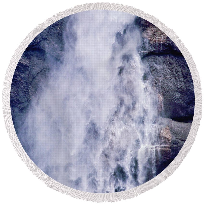 Waterfall Round Beach Towel featuring the photograph Water Drops by Kathy McClure