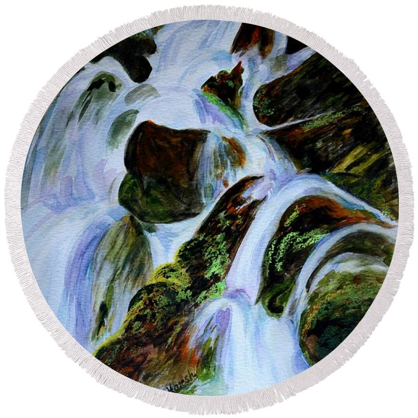 Water Fall Round Beach Towel featuring the painting Energy Of Water by Harsh Malik