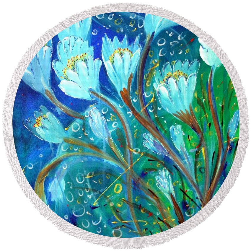 Flowers Round Beach Towel featuring the painting Water Flowers by Luiza Vizoli