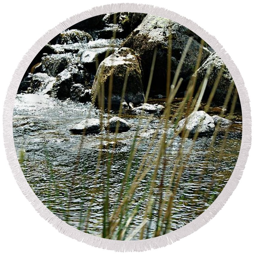 Flower Round Beach Towel featuring the photograph Water Flowing 2 by LDS Dya