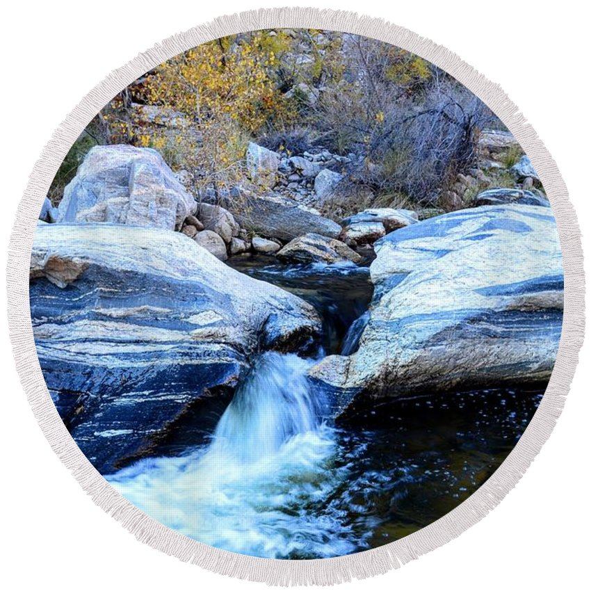 Tucson Round Beach Towel featuring the photograph Water Flowing Through Rock Formation In Sabino Canyon II by Rincon Road Photography By Ben Petersen