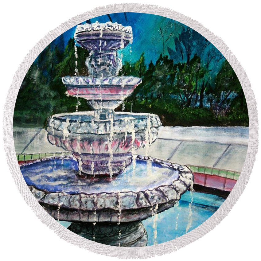 Acrylic Round Beach Towel featuring the painting Water Fountain Acrylic Painting Art Print by Derek Mccrea