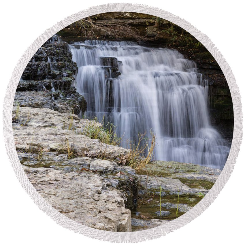 Landscape Round Beach Towel featuring the photograph Water In Motion by John Benedict