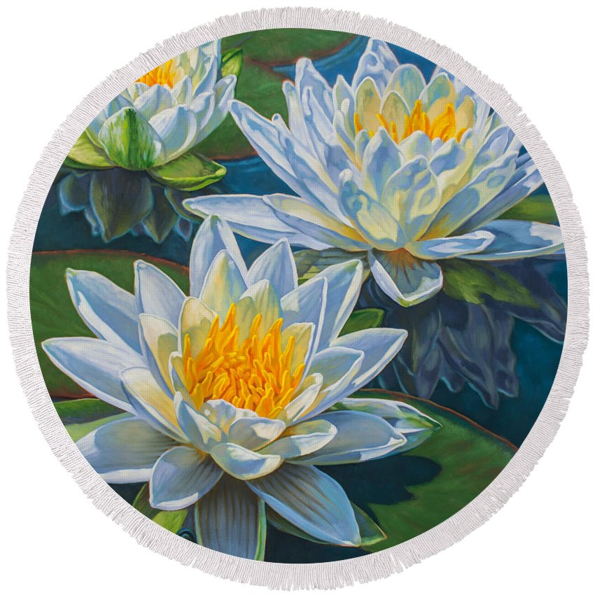 Fiona Craig Round Beach Towel featuring the painting Water Lilies 12 - Fire And Ice by Fiona Craig
