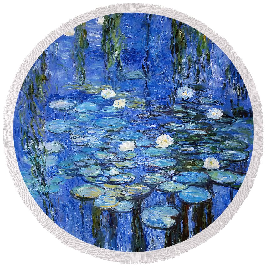 Water Lilies Round Beach Towel featuring the photograph water lilies a la Monet by Joachim G Pinkawa