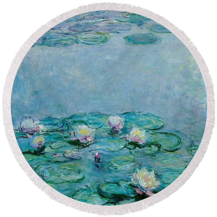 Monet Water Lilies Round Beach Towels