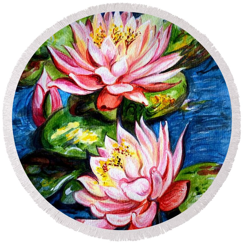 Water Lilies Round Beach Towel featuring the painting Water Lilies by Harsh Malik