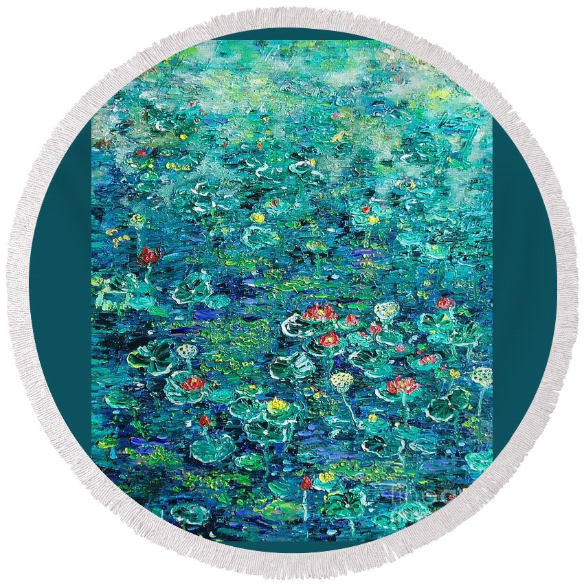 Water Lily Paintings Round Beach Towel featuring the painting Water Lilies Lily Pad Lotus Water Lily Paintings by Seon-Jeong Kim