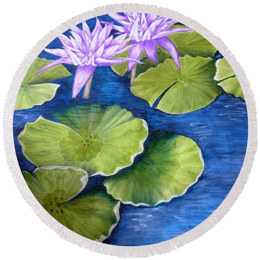 Water Lilies Round Beach Towel featuring the painting Water Lilies by Mary Deal