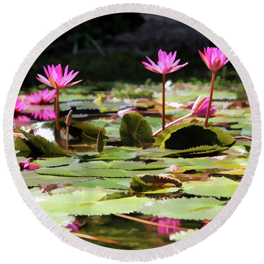 Vietnam Round Beach Towel featuring the photograph Water Lilies Tam Coc by Chuck Kuhn