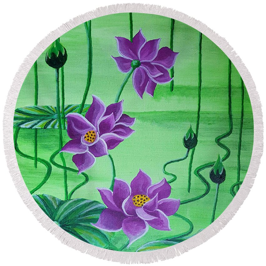 Lilies Water Pond Flowers Purple Lilies Green Purple Round Beach Towel featuring the mixed media Water Lilies by Tammera Malicki-Wong