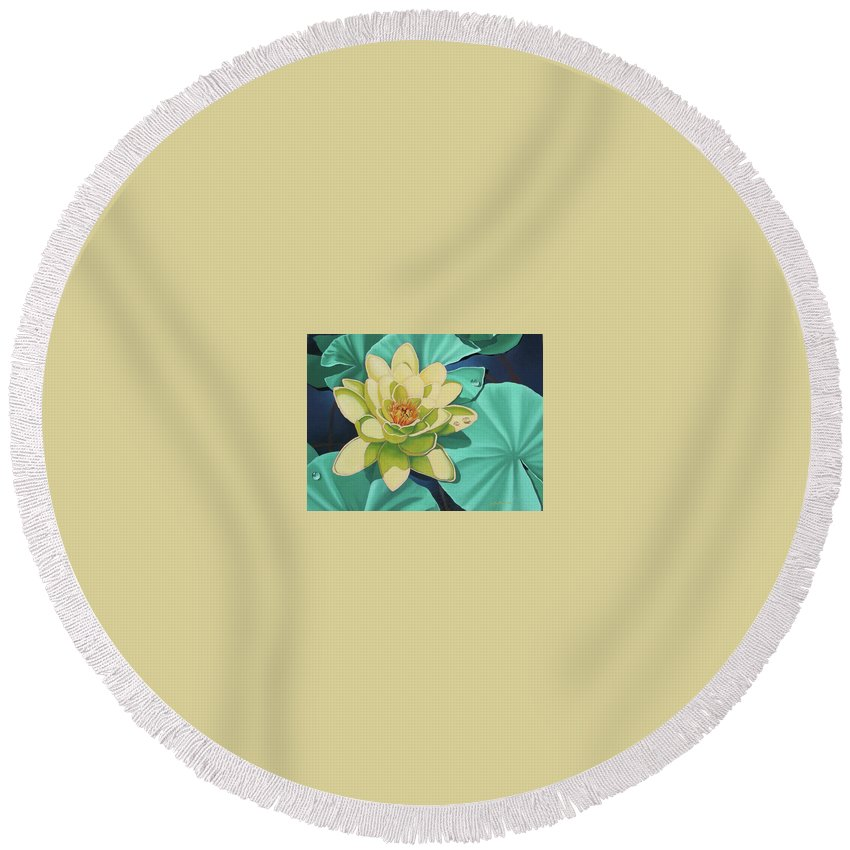 Floral Round Beach Towel featuring the painting Water Lily by Jim Bob Swafford