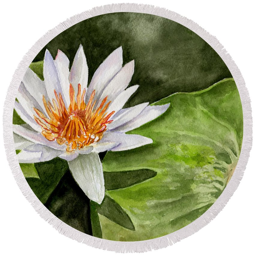 Flower Floral Water Lily Watercolor Round Beach Towel featuring the painting Water Lily by Brenda Owen