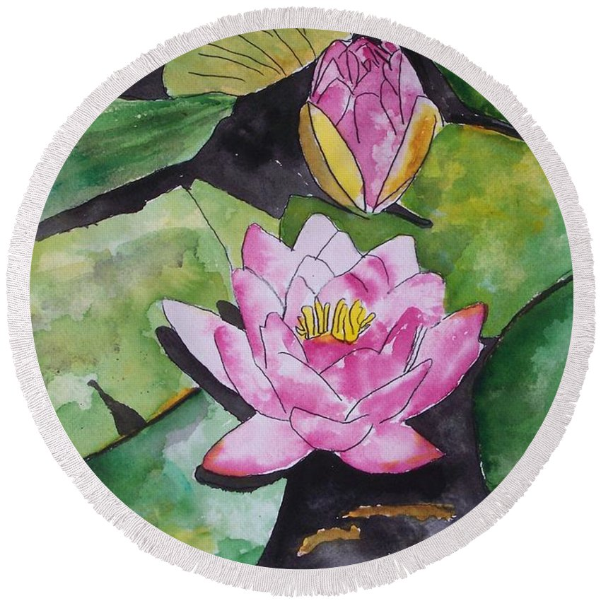 Water Lily Round Beach Towel featuring the painting Water Lily by Derek Mccrea