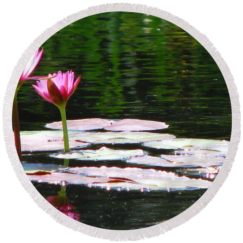 Patzer Round Beach Towel featuring the photograph Water Lily by Greg Patzer