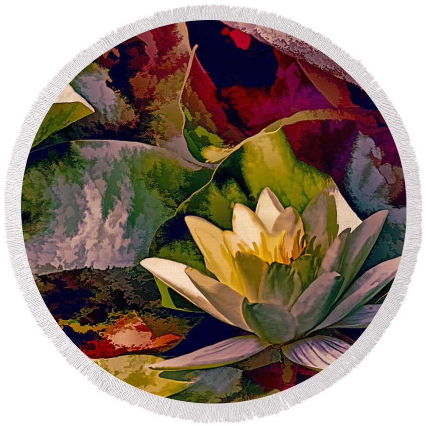 Recent Round Beach Towel featuring the photograph Water Lily In Living Color by Geraldine Scull