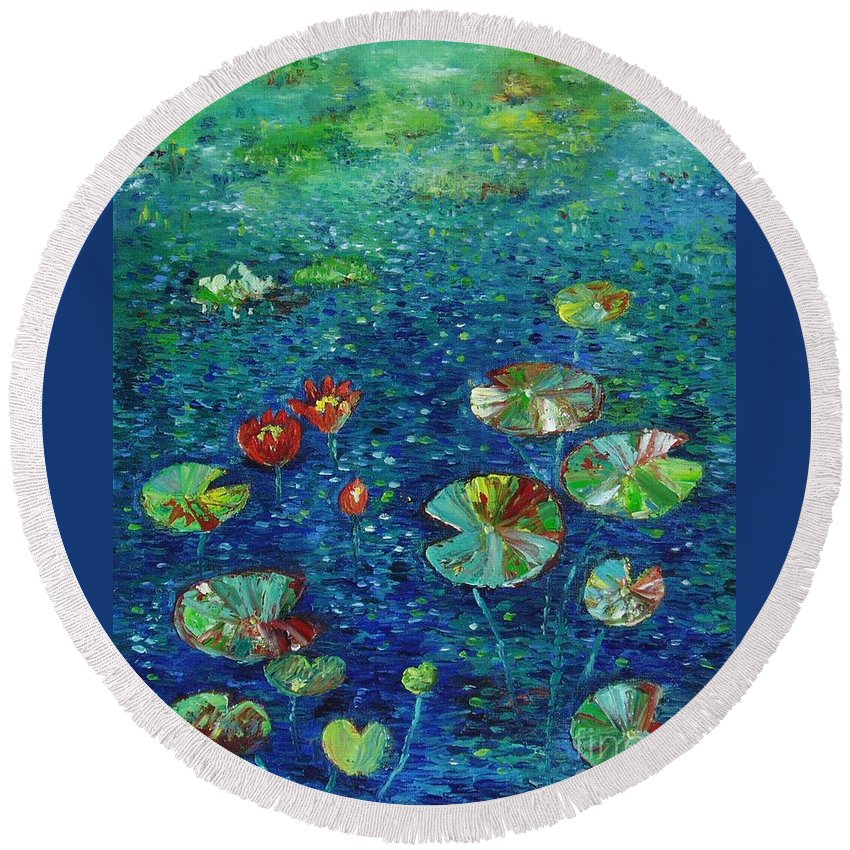 Lotus Paintings Round Beach Towel featuring the painting Water Lily Lotus Lily Pads Paintings by Seon-Jeong Kim