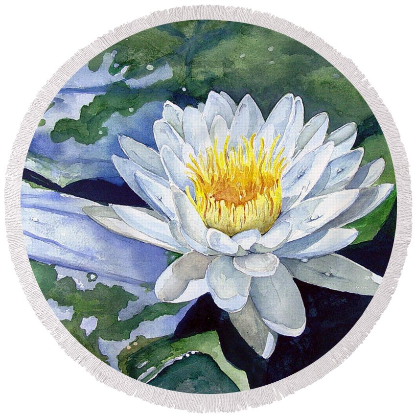 Flower Round Beach Towel featuring the painting Water Lily by Sam Sidders