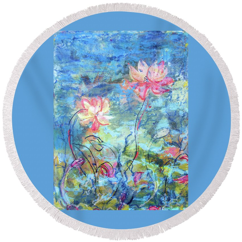 Encaustic On Paper Round Beach Towel featuring the painting Water Lotus by Judith Ghetti Ommen