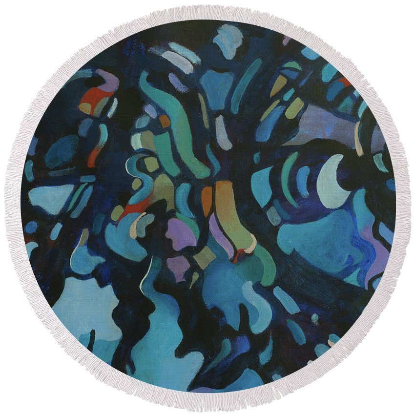 Abstract Round Beach Towel featuring the painting Water Music by Ed Bohon
