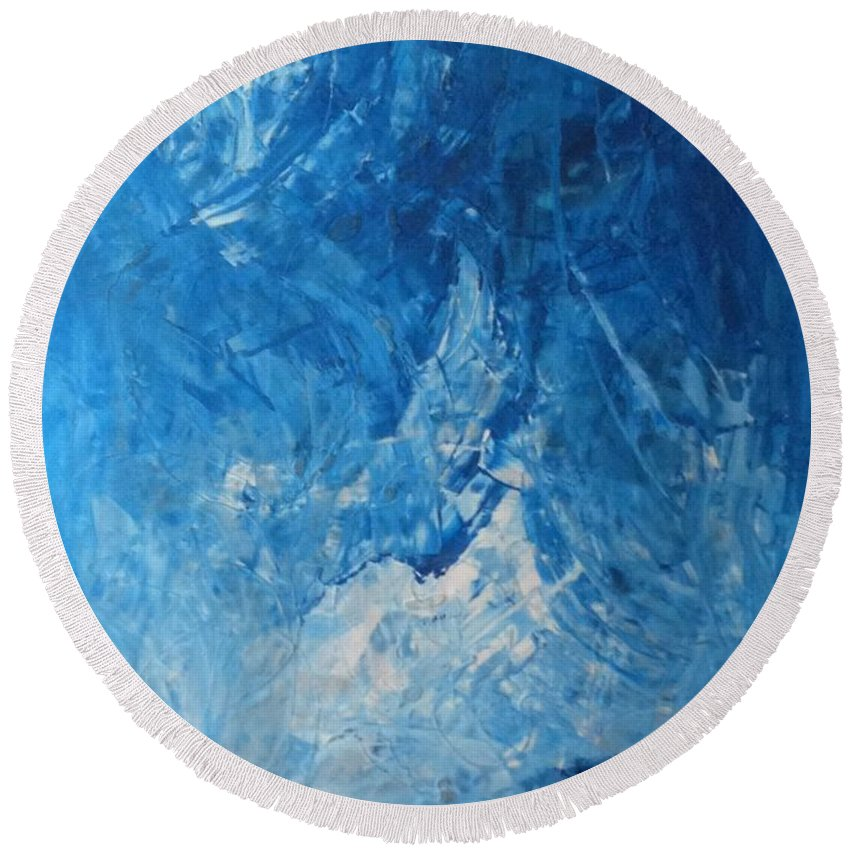 Abstract Art Round Beach Towel featuring the painting Water Planet Surface by John Dossman