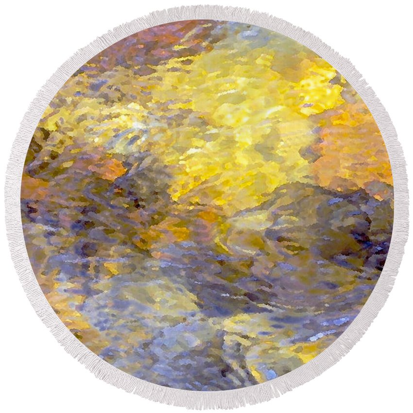 Abstract Photography Round Beach Towel featuring the photograph Water Reflection 1144 by Dick Hopkins