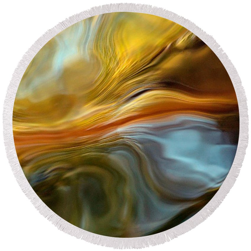 Abstract Landscape Round Beach Towel featuring the photograph Water Reflections 1064 by Dick Hopkins
