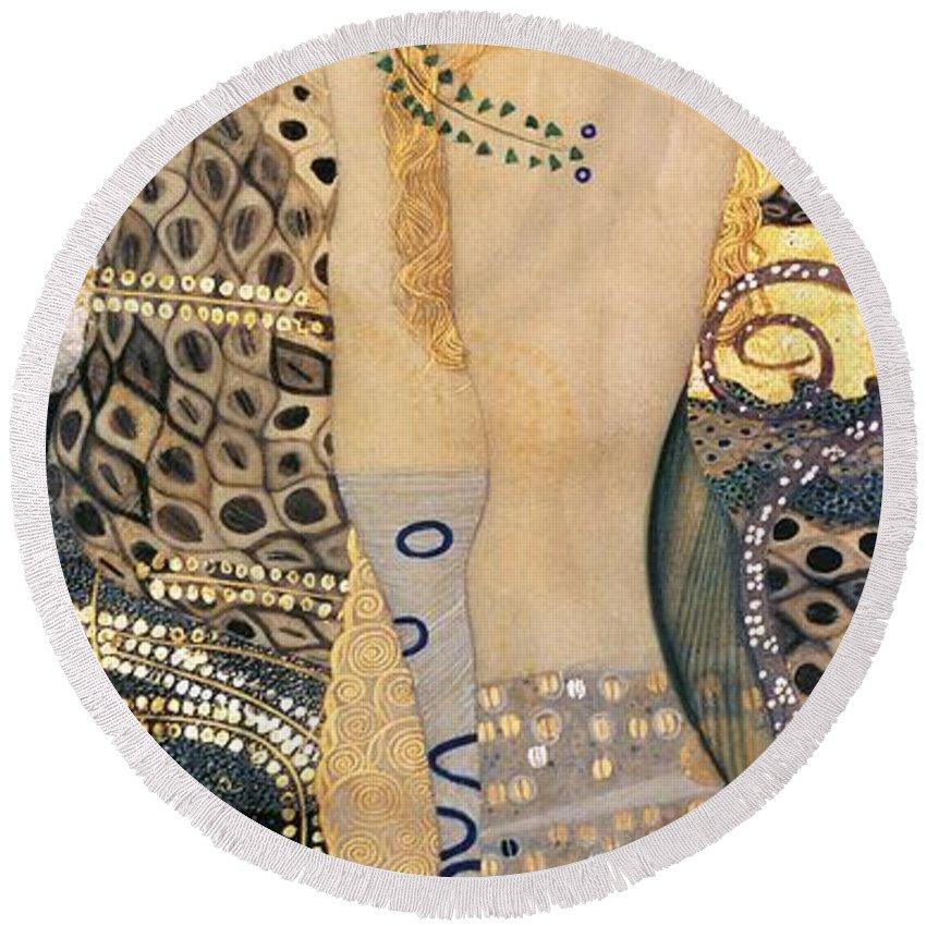 Gustav Klimt Round Beach Towel featuring the painting Water Serpents I by Gustav klimt