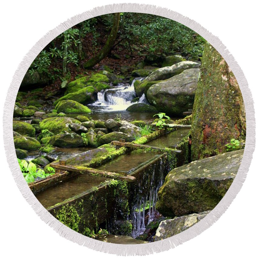 Great Smokey Mountains National Park Round Beach Towel featuring the photograph Water Sluice by Marty Koch